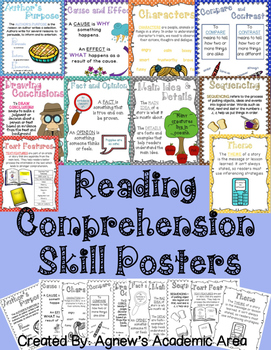 Reading Comprehension Skills Posters: COLOR AND BLACK AND WHITE COPIES