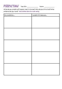Reading Comprehension Skills Recording Sheets