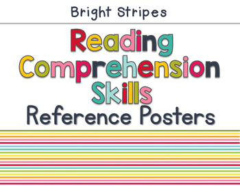 Reading Comprehension Skills Reference Posters: Bright Stripes