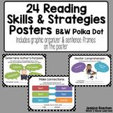 Reading Comprehension Skills & Strategies Posters B&W Polka Dots