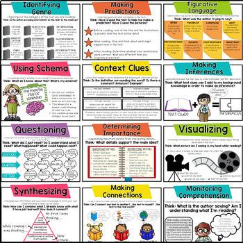 Reading Comprehension Skills & Strategies Posters + Mini-Posters BUNDLE