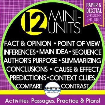 Reading Comprehension Units - 12 Mini-Units - Ultimate Bundle