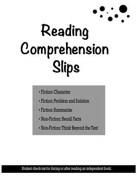 Reading Comprehension Slips