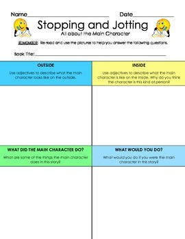 Reading Comprehension: Stopping and Jotting All About The Main Character