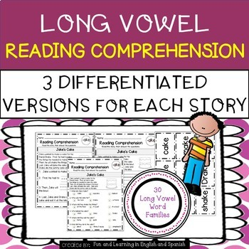 Long Vowel Word Families Reading Comprehension & Word Work - Differentiated