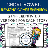 Short Vowel Word Families Reading Comprehension & Word Work - Differentiated