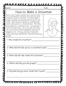 "Reading Comprehension Stories & ""WH"" Questions {December}"