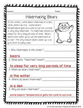 """Reading Comprehension Stories & """"WH"""" Questions {January}"""