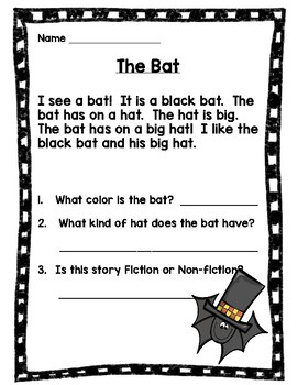 Reading Comprehension Stories and Questions