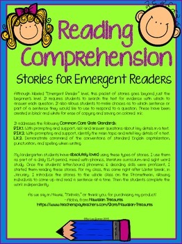 Reading Comprehension Stories for Emergent Readers