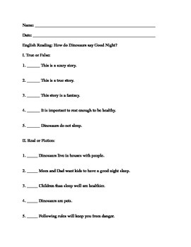 Story: How do Dinosaurs say Good Night - Reading Comprehension Worksheet