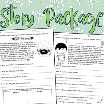 Reading Comprehension Story Package