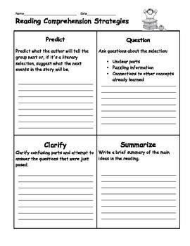 Reading Comprehension Strategies 1/4 Sheet