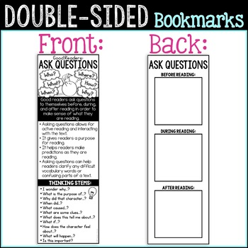 Reading Comprehension Strategies: Asking Questions FREE Reading Bookmark