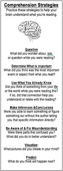 Reading Comprehension Strategies Bookmark & Reading Log