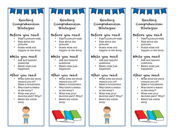 Reading Comprehension Strategy Bookmarks and Classroom Posters