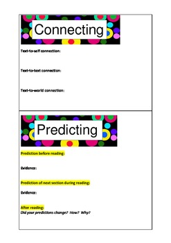 Reading Comprehension Strategies Dice - Bright Dots
