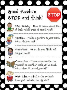 Reading Comprehension Strategies - Good Readers STOP and Think (polka dot)