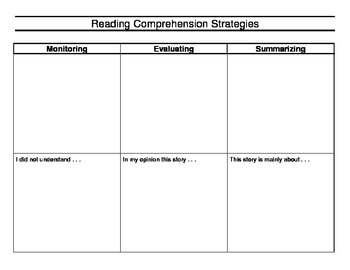Reading Comprehension Strategies Graphic Organizer