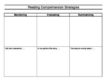 Reading Comprehension Strategies Graphic Organizer