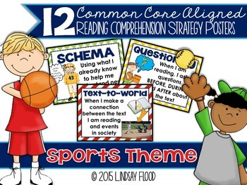 Reading Comprehension Strategies Posters  - Sports Theme
