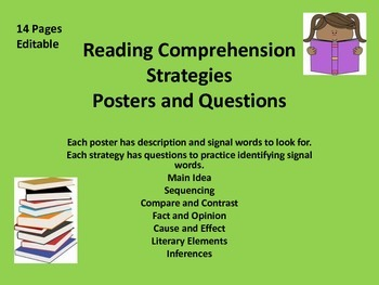 Reading Comprehension Strategies Posters and Questions 14 pages Editable