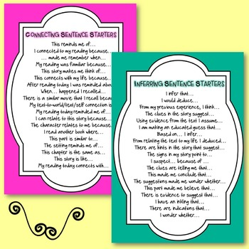 Reading Comprehension Strategies- Sentence Starters