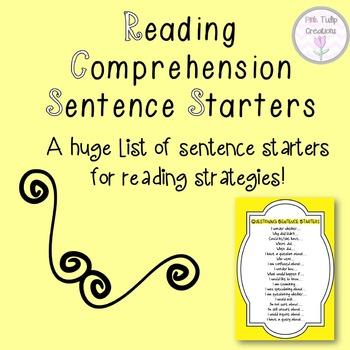 Reading Comprehension Strategies- Sentence Starters