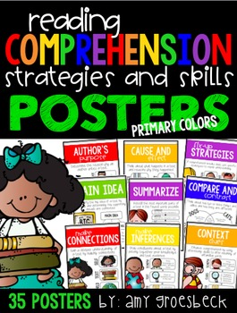 Reading Comprehension Strategies and Skills Poster Set - PRIMARY COLORS