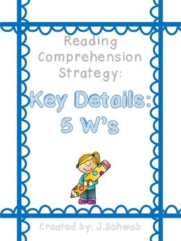 Reading Comprehension Strategy Poster: Key Details- 5 Ws