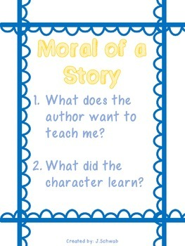 Reading Comprehension Strategy Poster: Moral of a Story