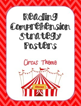 Reading Comprehension Strategy Posters- Circus Animals & Chevron Theme