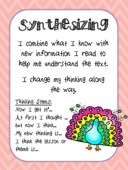 Reading Comprehension Strategy Posters- Peacock & Chevron Theme