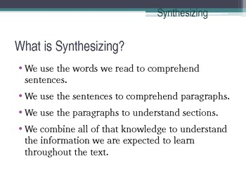 reading strategy synthesising Provide time for students to write and reflect on their reading  successful readers describe the strategy of visualisation  the process of synthesising changes.