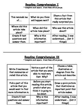 Reading Comprehension TIC TAC TOE Activity (4 levels!)