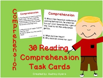 Reading Comprehension Task Cards--30 Cards, Literacy Circl