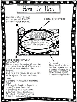 Reading Comprehension Task Cards (B&W Color Me! Edition)-in Spanish!