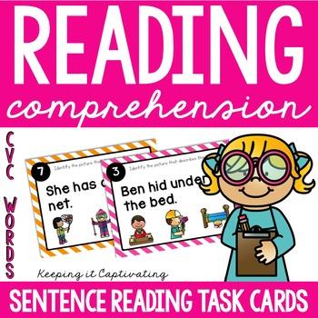 Reading Comprehension Task Cards {CVC Words}