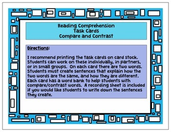 Reading Comprehension Task Cards - Compare and Contrast