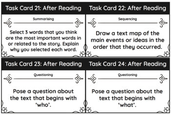 Reading Comprehension Task Cards - For use with any text