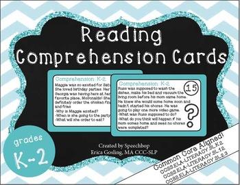 Reading Comprehension Task Cards- Grades K-2 {common core
