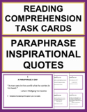 Reading Comprehension Task Cards - Paraphrasing Activitiy