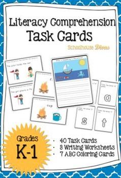 Reading Comprehension Task Cards & Writing Worksheets (K-1)
