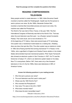 Reading Comprehension - Television and its history