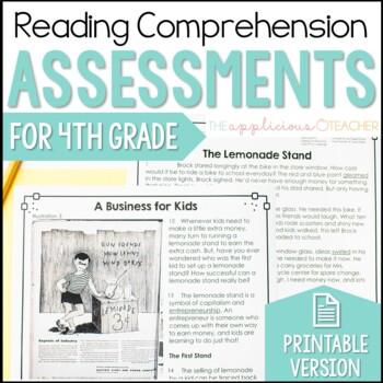 Reading Comprehension Tests 4th Grade