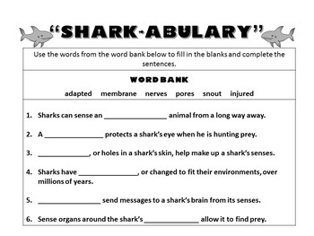 Reading Comprehension, Text Features, Vocabulary, and Writing No-Prep Shark Pack