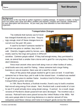 Reading Comprehension:  Text Organization