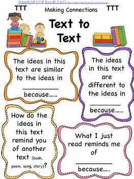 Reading Comprehension Text to Text, Text to Self, Text to World