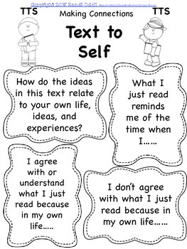 Reading Comprehension Text to Text, Text to Self, Text to World Freebie