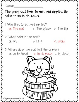 ESL Newcomer: Reading Comprehension- The Gray Cat in Autumn Stories K-3
